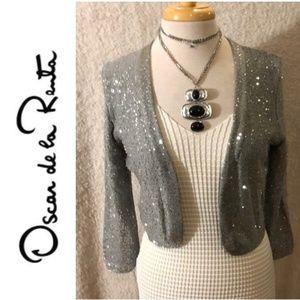 NWT OSCAR DE LA RENTA Sequin Knit Shrug Jacket